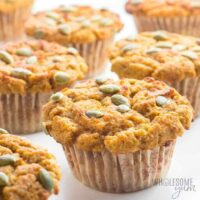 Pumpkin muffins with pumpkin seed topping.