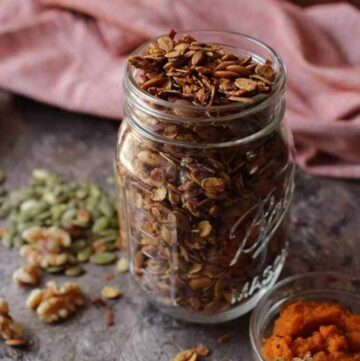 Pumpkin granola in a jar.
