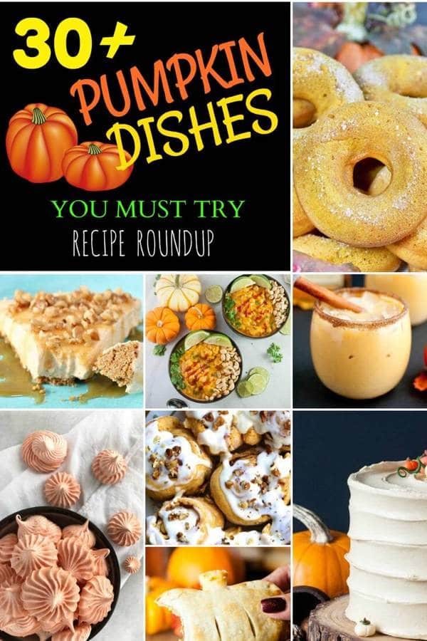 Pumpkin Dishes Recipe Roundup Collage Pin Image