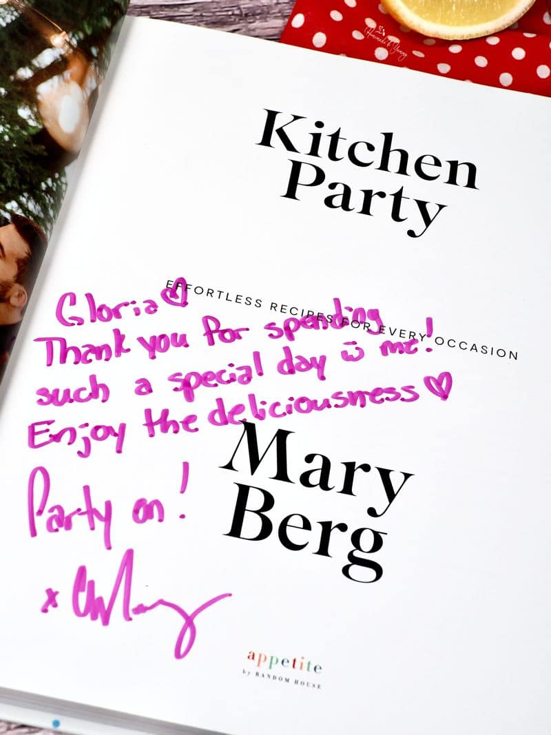 An autographed copy of Kitchen Party by Mary Berg.