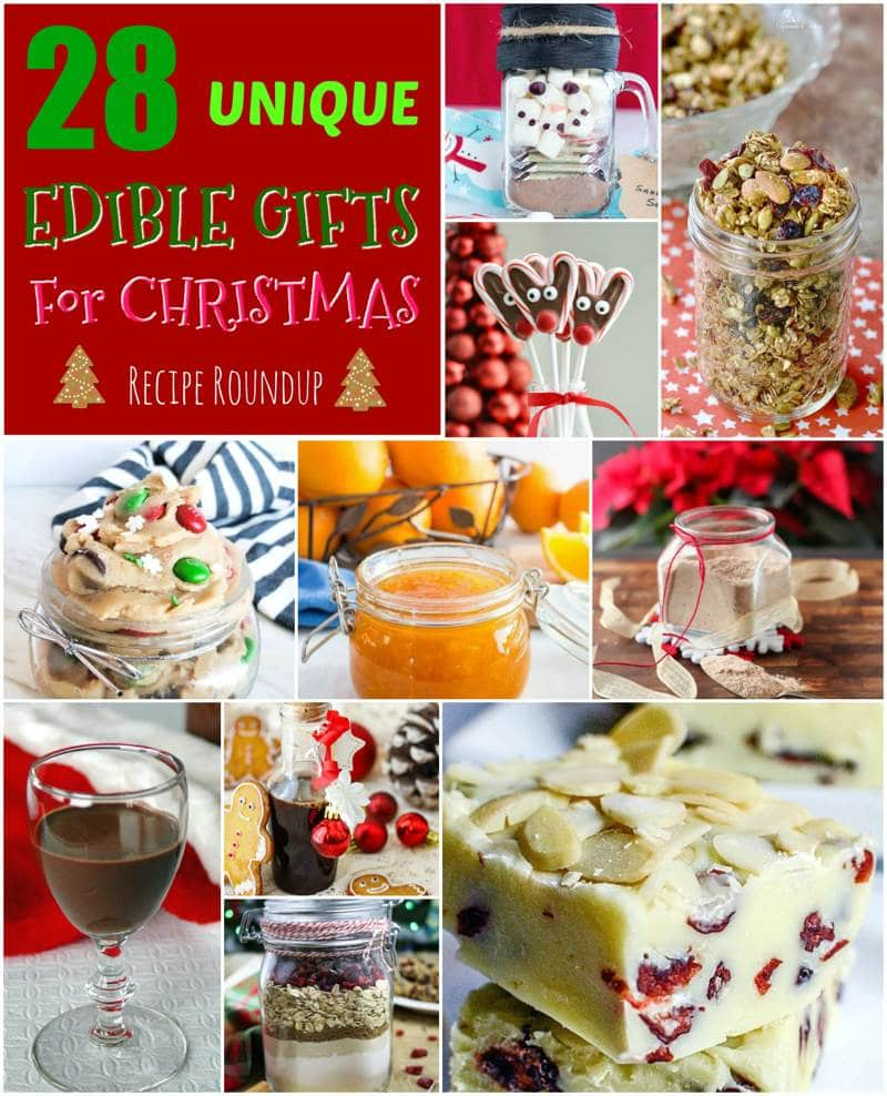 A collage of edible Christmas gift ideas.