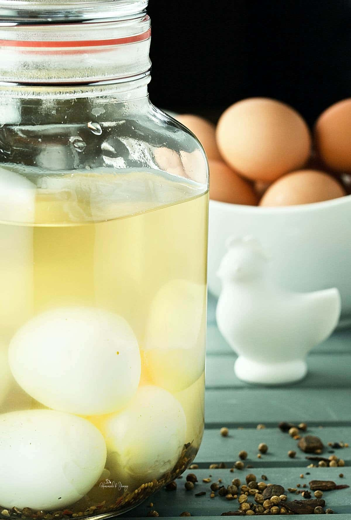 Easy Classic Pickled Eggs in a jar.