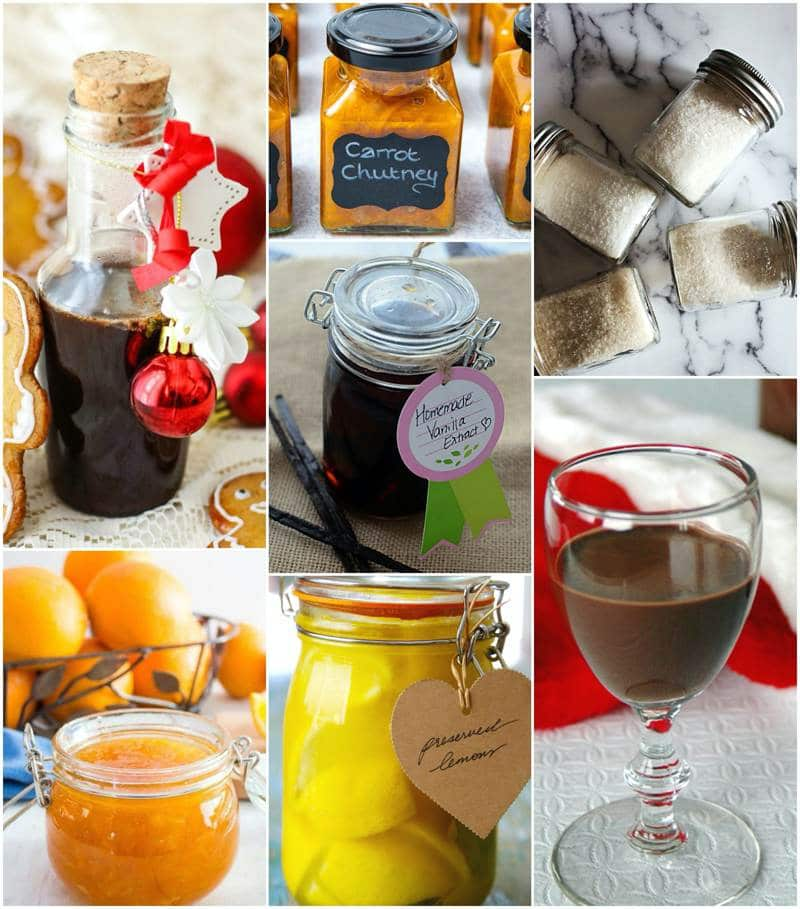 A collage of preserves and flavours for holiday gift ideas.