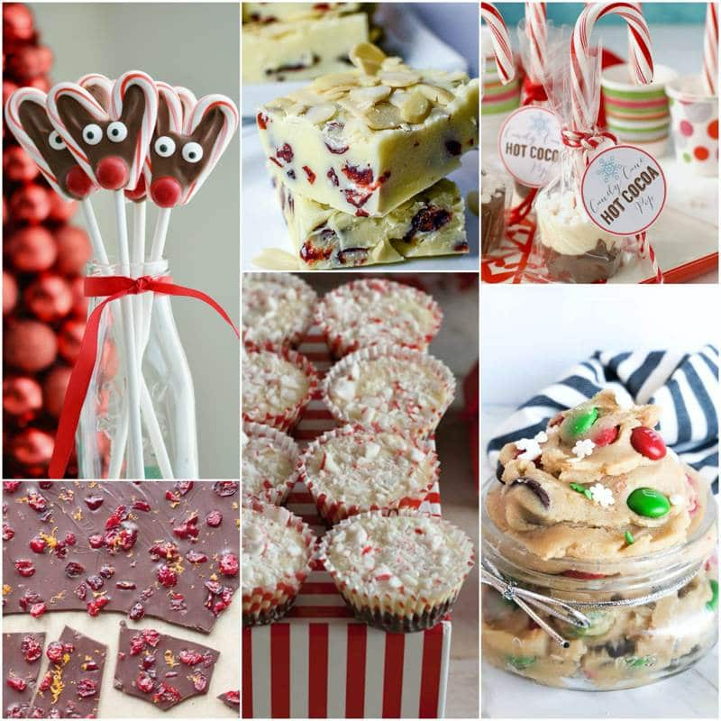 A collage of Christmas treats and snacks.