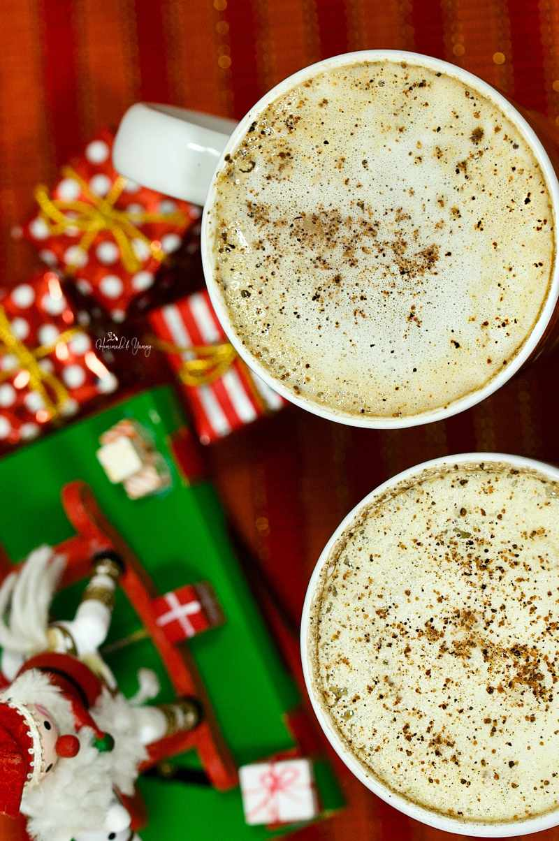 2 homemade spiked lattes.