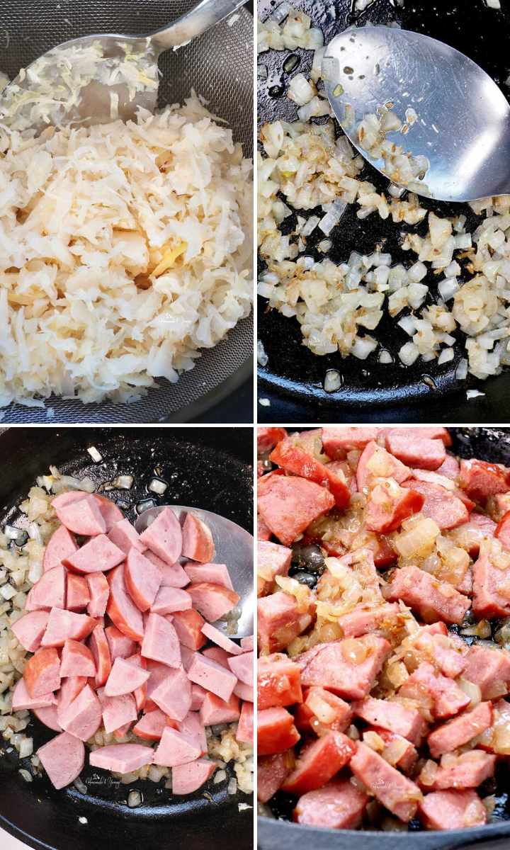 Collage photo of the steps to make the Kobasa Kapusta recipe.