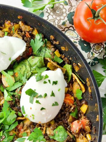 Poached Eggs & Lentil Hash Featured Image