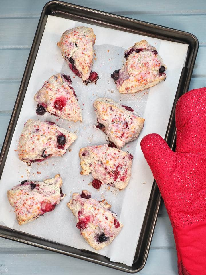 Mixed Berry Scones right out of the oven.