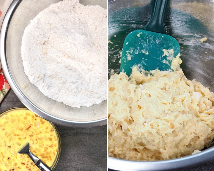 Combining the wet and dry ingredients for onion bread.
