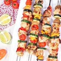 Grilled Chili Lime Chicken Skewers Pin Featured Image