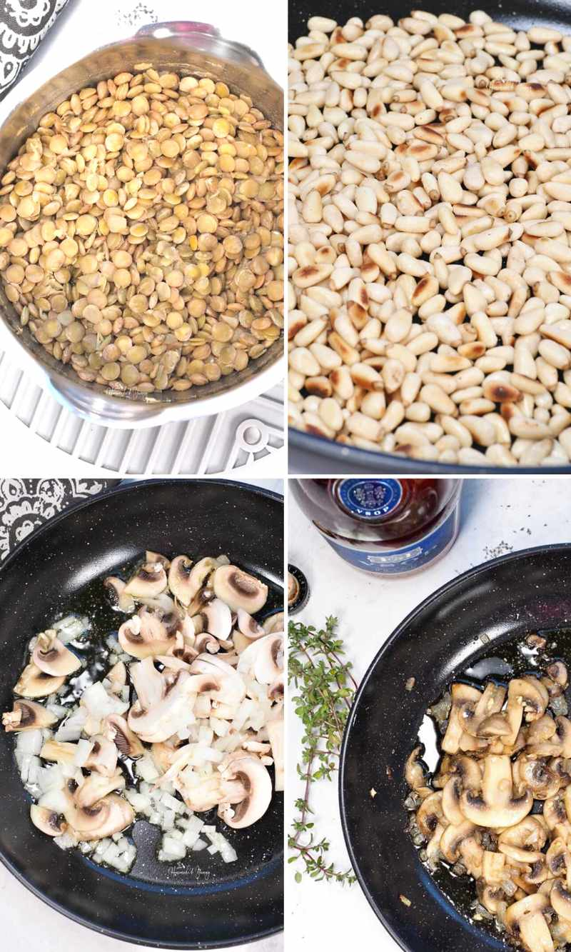 Collage of steps to make mushroom pate