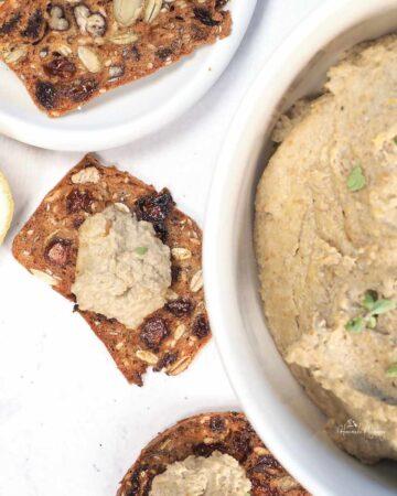 Vegan Mushroom Pate on crackers (Featured Image)