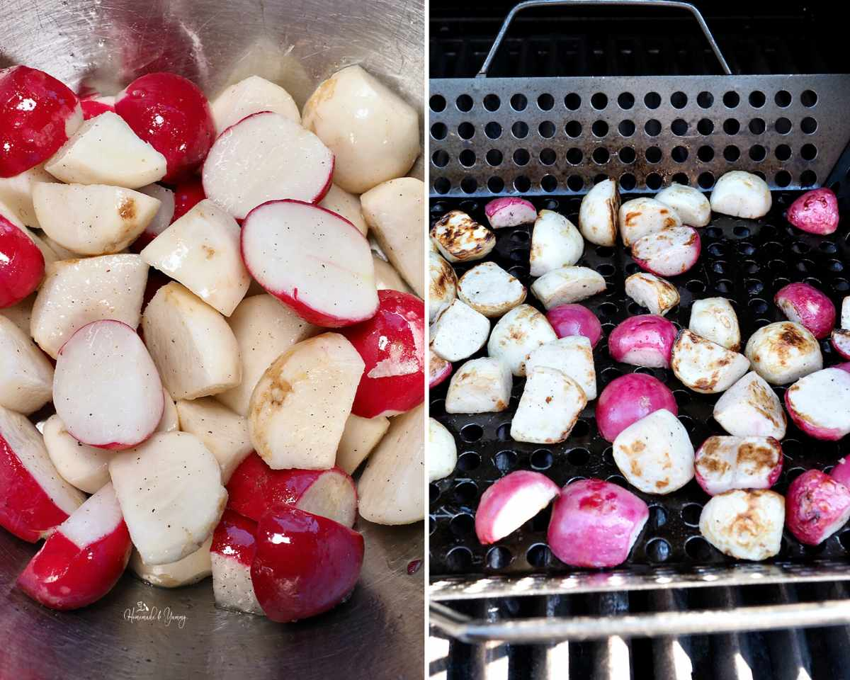 Collage of steps showing how to grill the radishes and turnips.