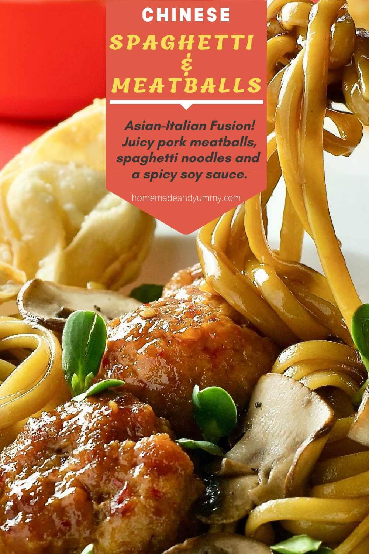 Chinese Spaghetti and Meatballs Pin Image