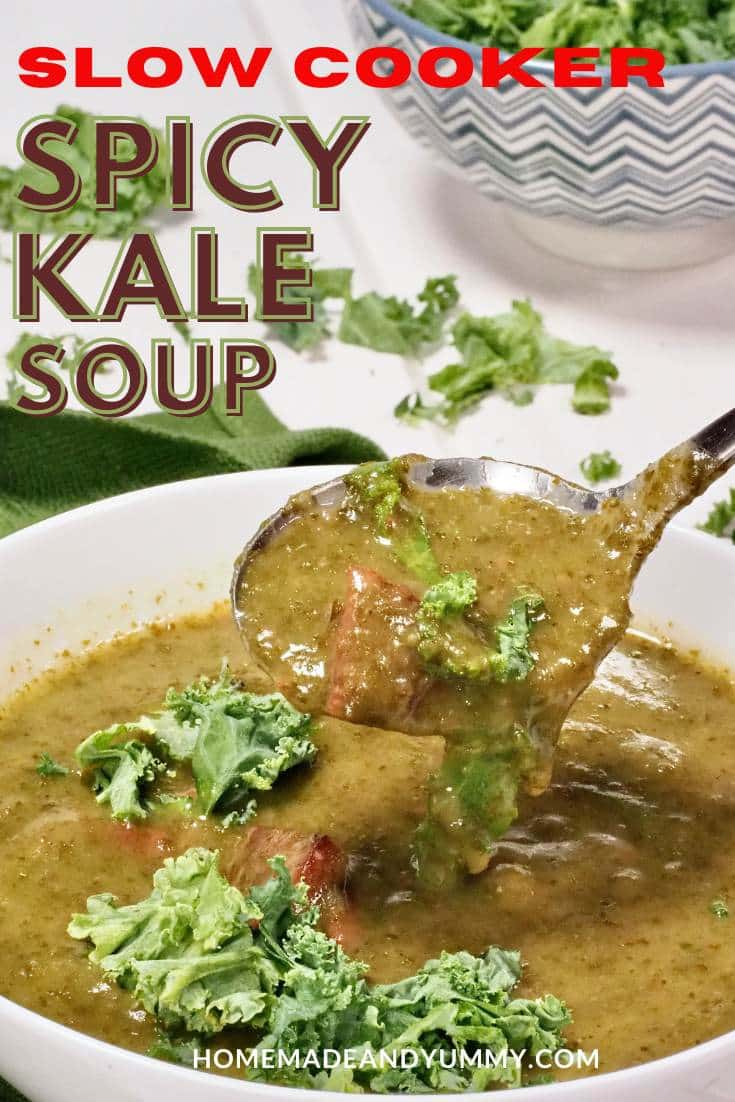 Slow Cooker Spicy Kale Soup Pin Image
