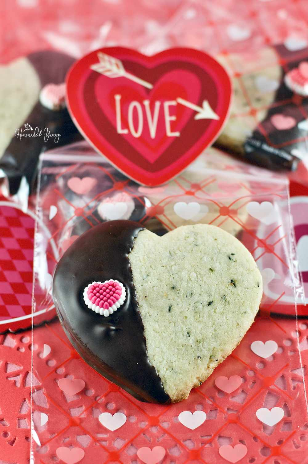 Valentine treat bag with a heart shaped cookie made with hemp seeds