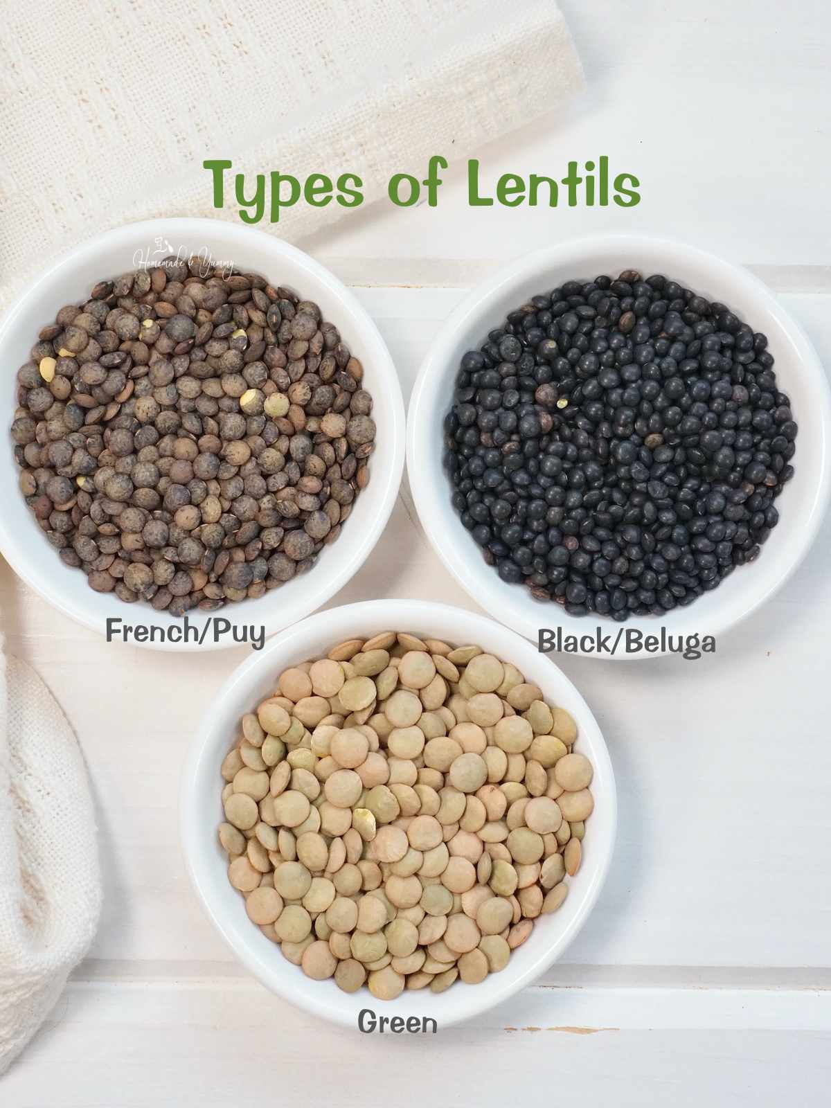 3 types of lentils, green, black and French
