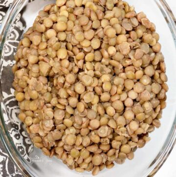 Marinated Lentils in a glass bowl ready for storage