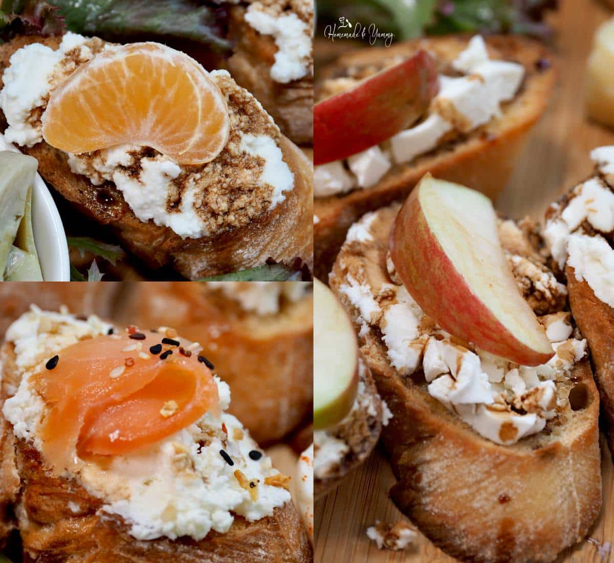 Collage of 3 types of crostini toppings.