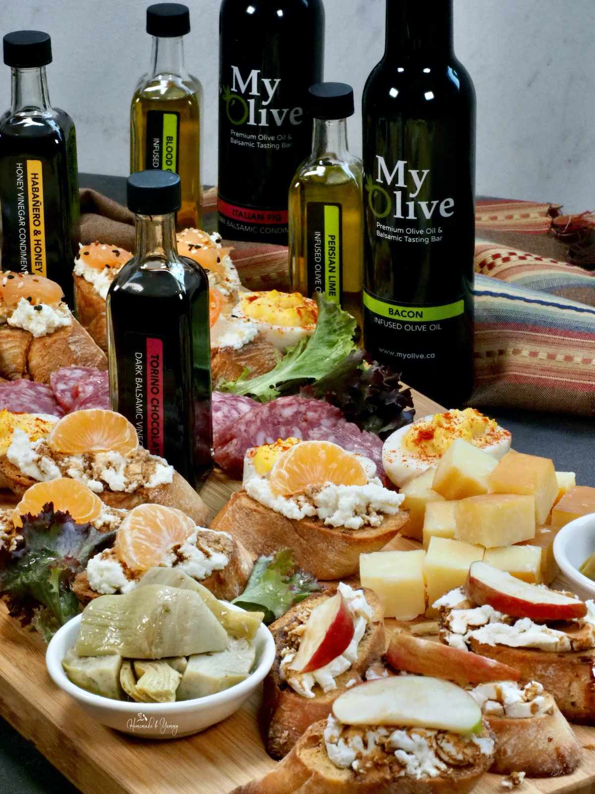 Crostini Appetizer Platter with meats and cheeses.