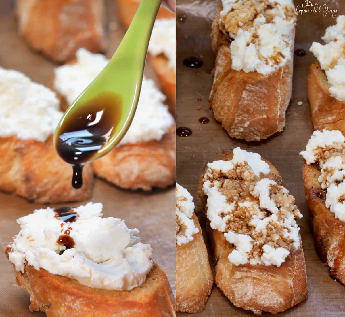Topping bread appetizers with balsamic vinegar.