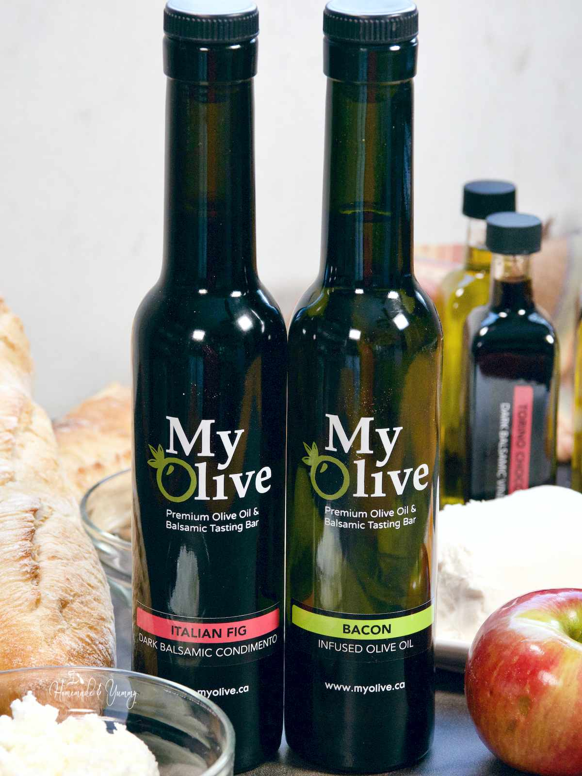 Bacon Oil and Fig Balsamic for making crostini breads.