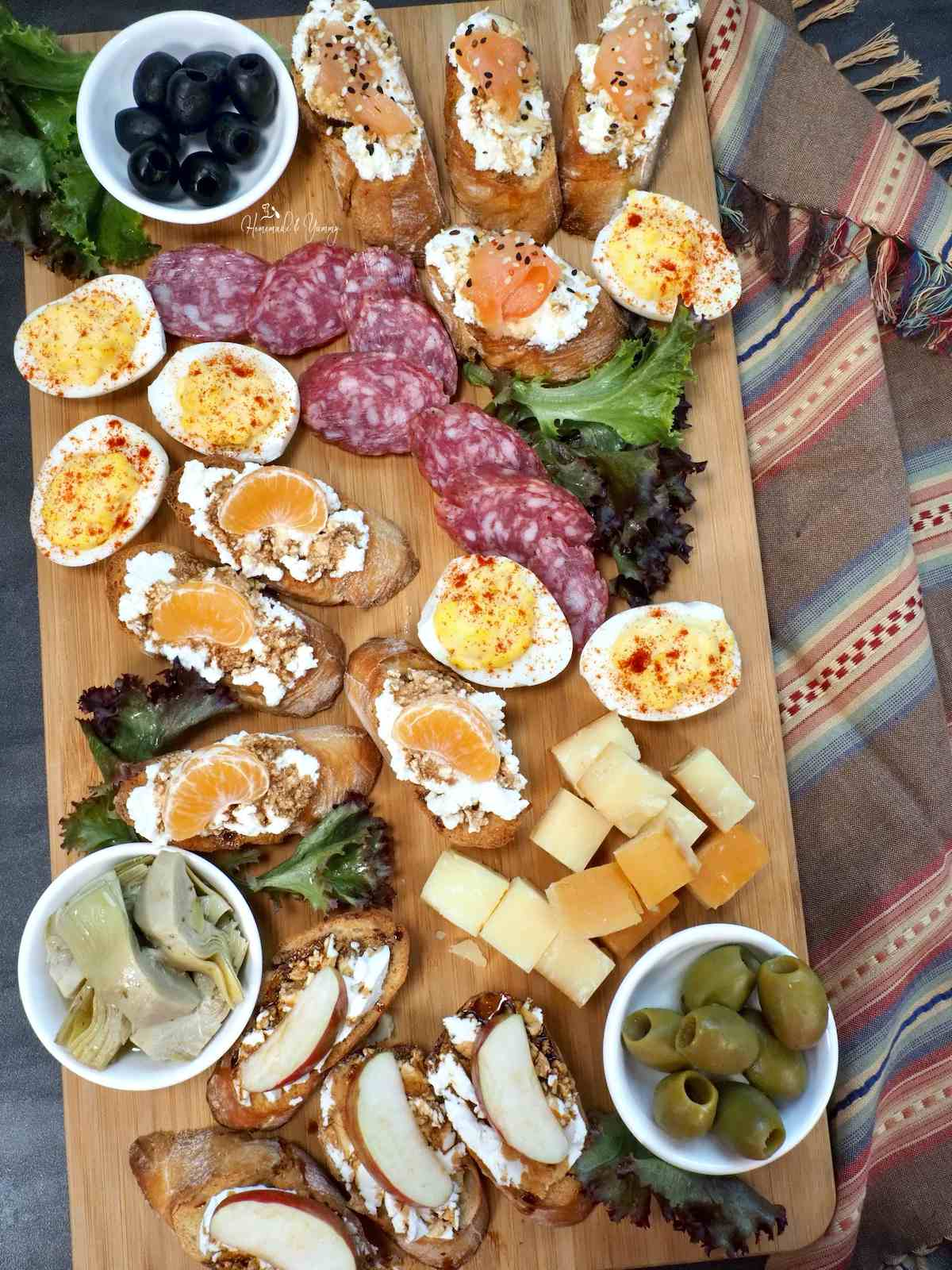 Easy Crostini Platter with a selection of appetizers.