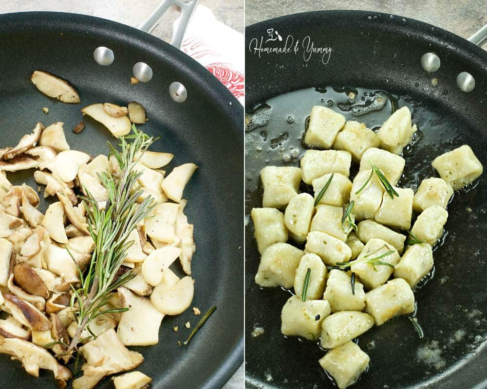 Frying mushrooms and fresh homemade gnocchi in a pan.