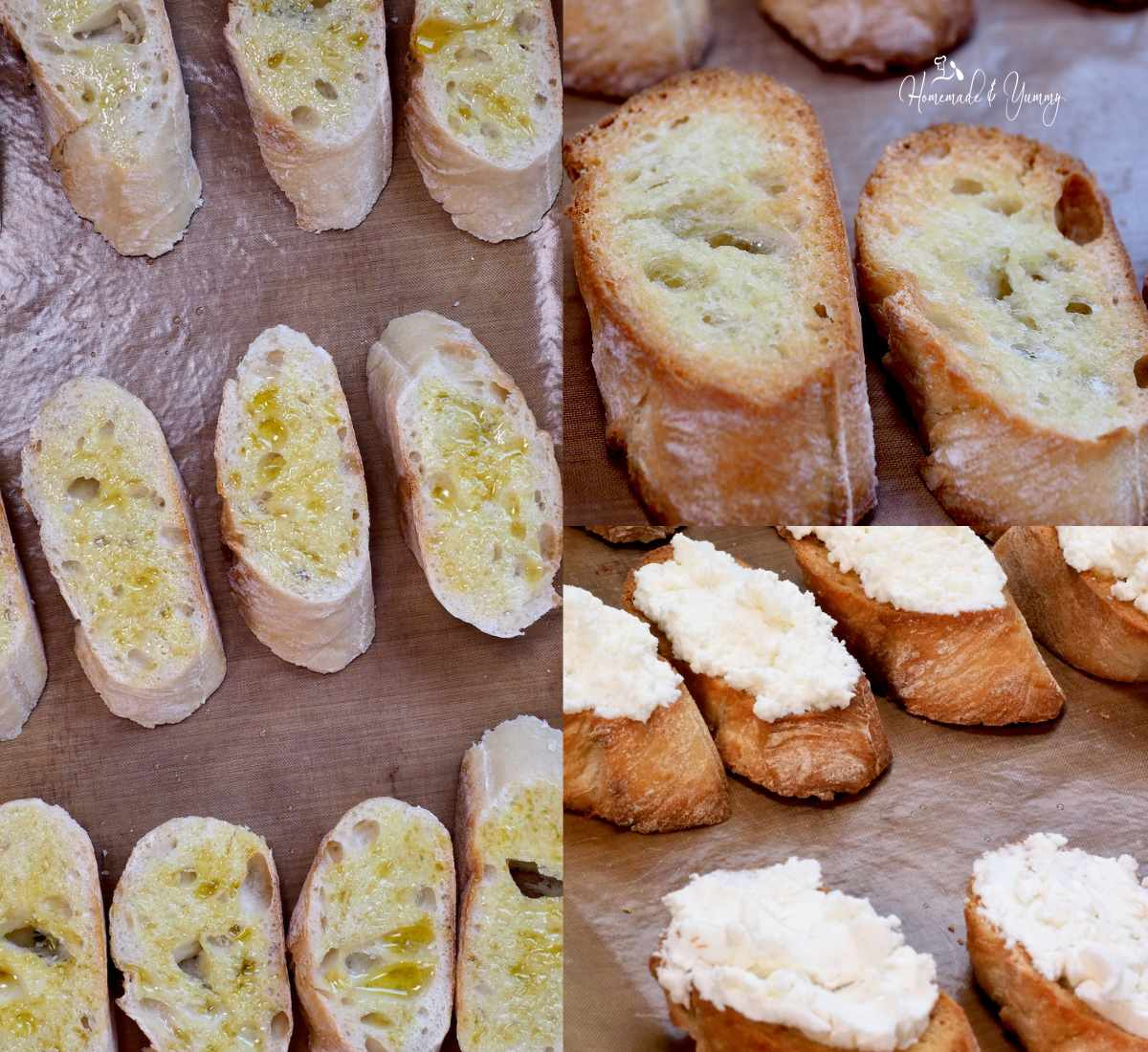 Collage of how to make crostini.