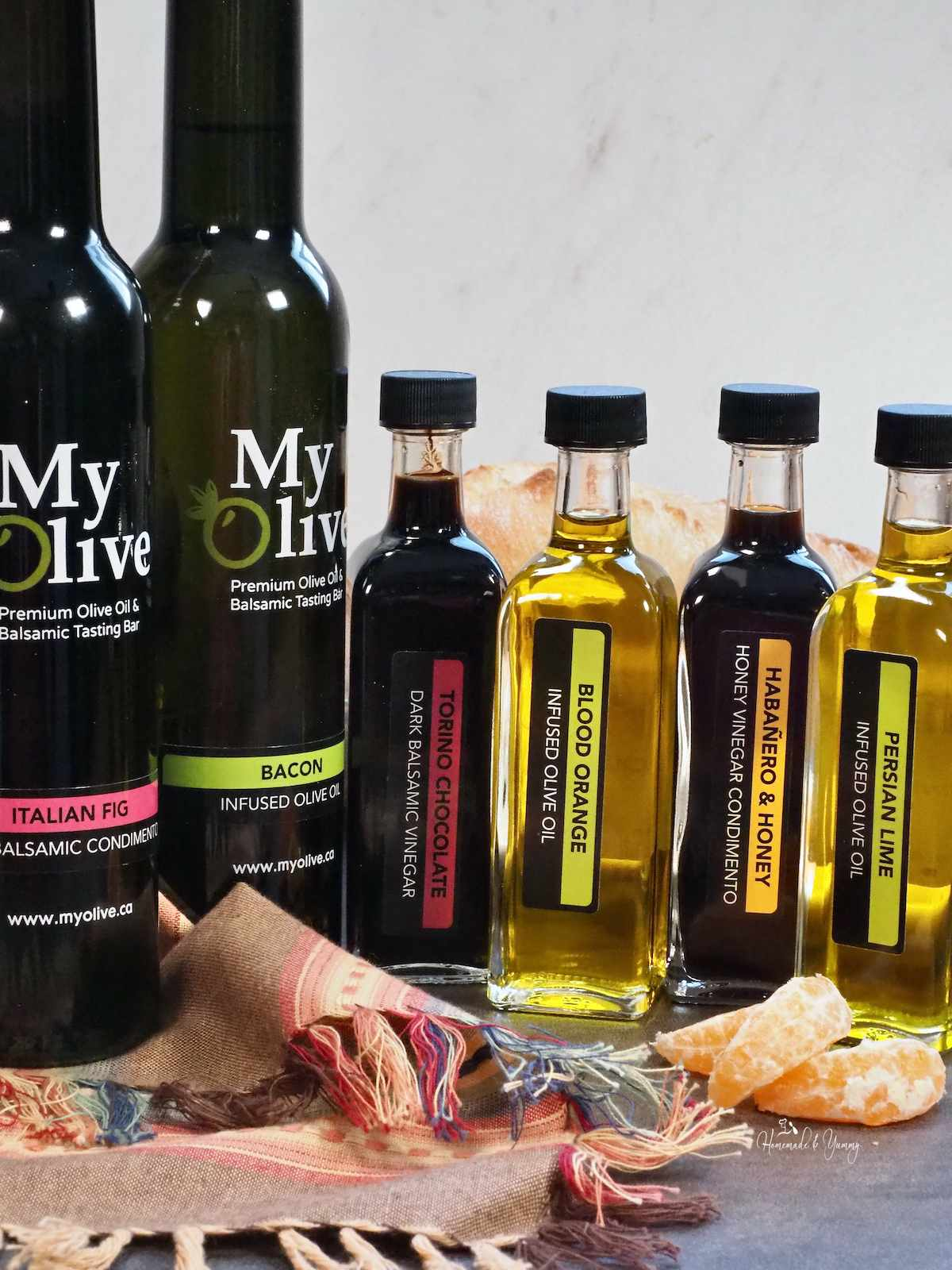 A selection My Olive oils and vinegars.