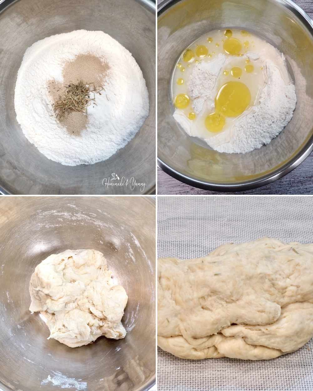 Collage for steps for making bread dough