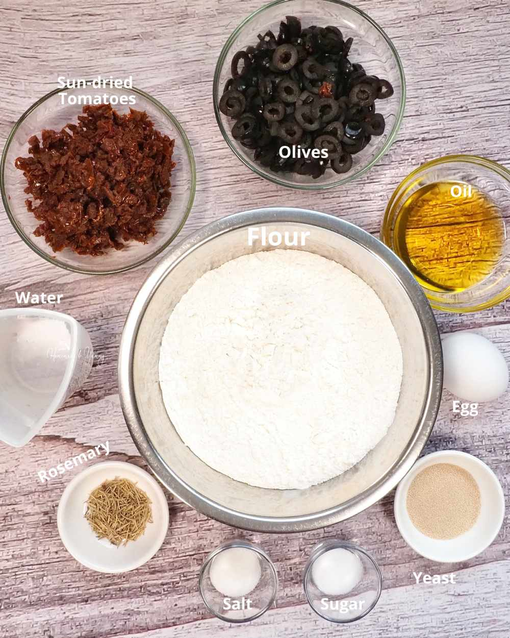 Ingredients to make artisan bread