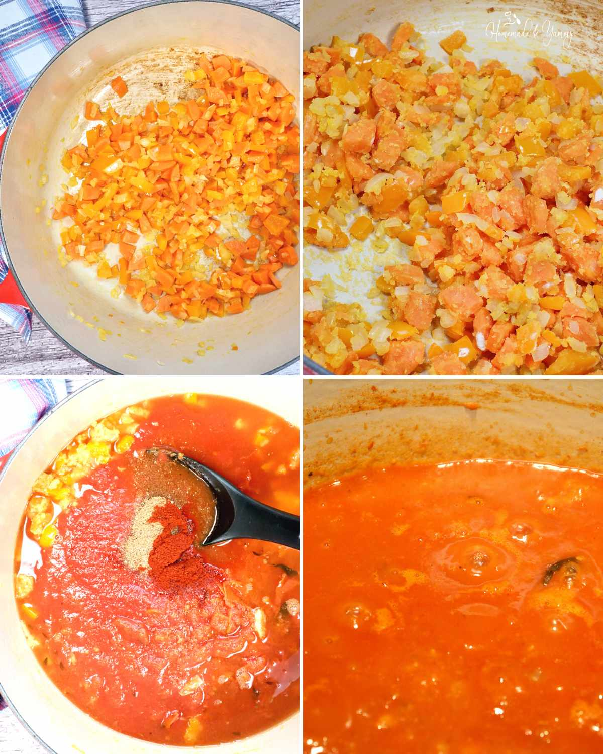 A collage showing the the first few steps in making crab and tomato soup.
