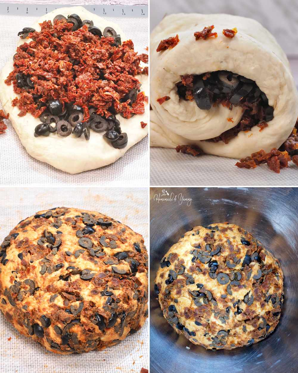 Collage steps for kneading and forming tomato olive bread
