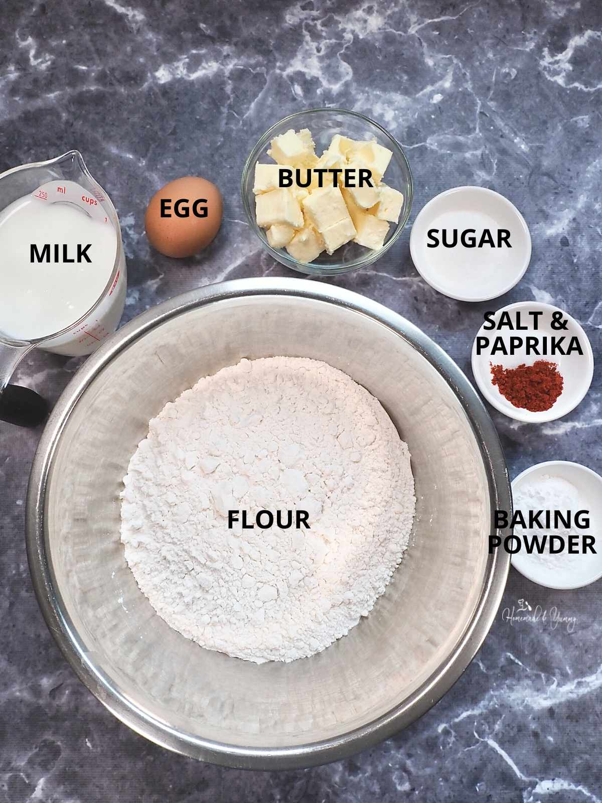 Ingredients to making baking powder biscuits.
