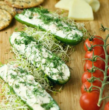 Cucumber Boats with cream cheese stuffing.