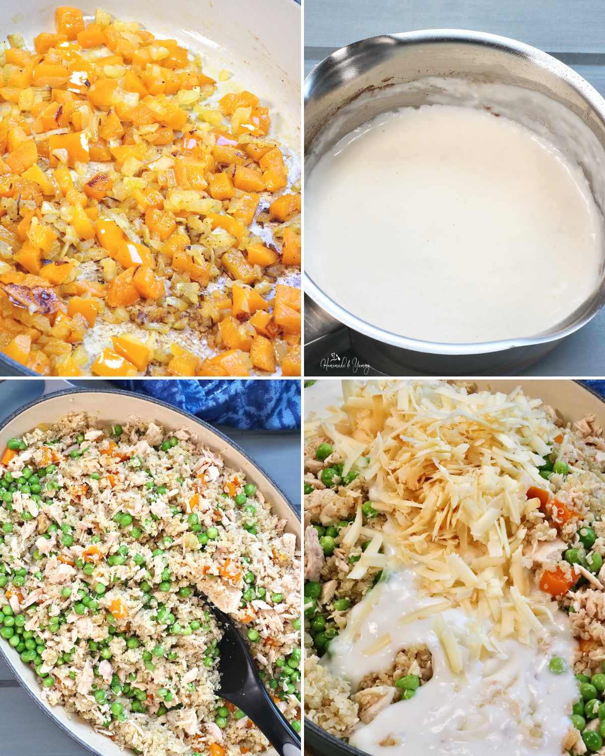 Collage of steps 1-2 to make the casserole.