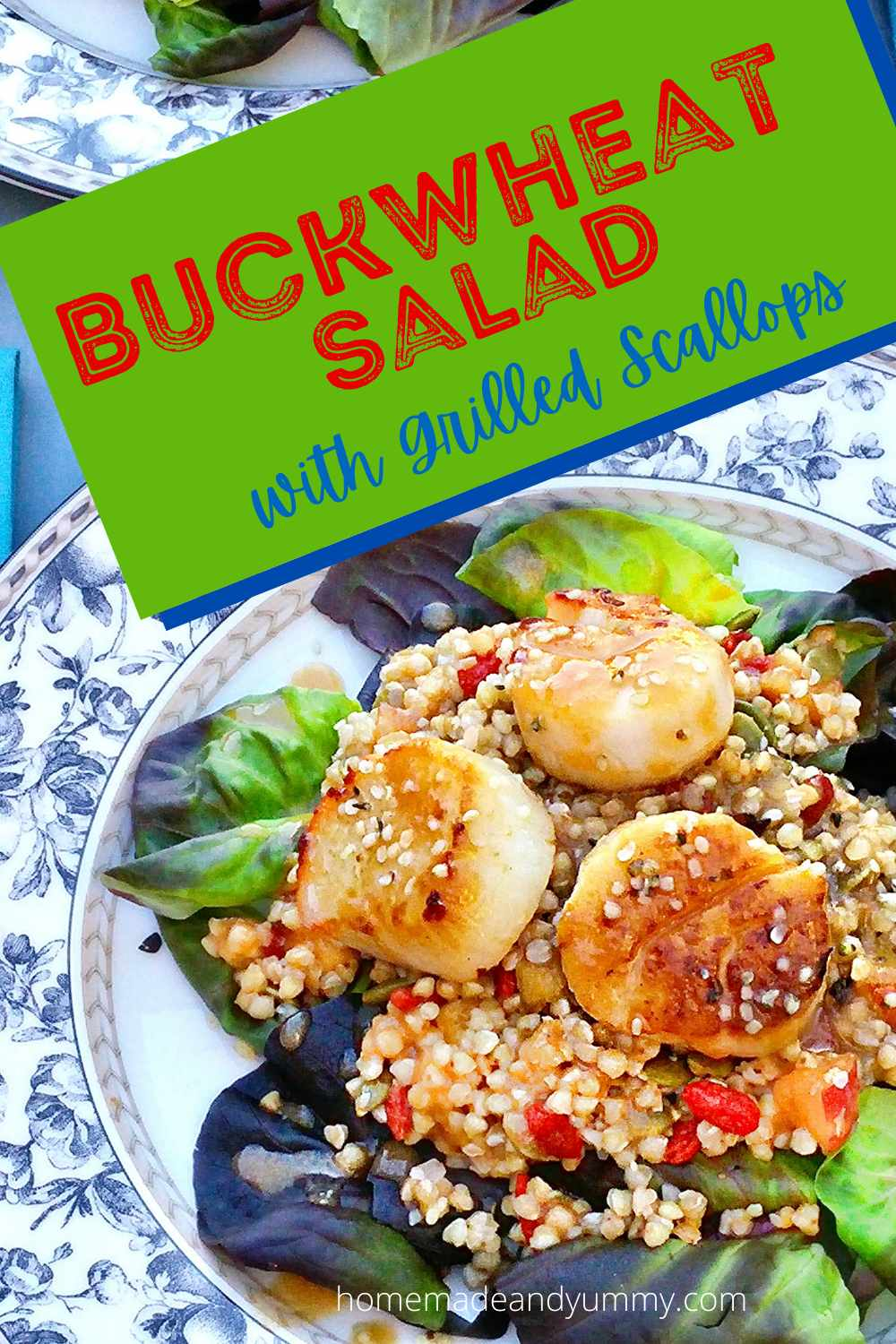 Buckwheat and Grilled Scallop Salad Pin