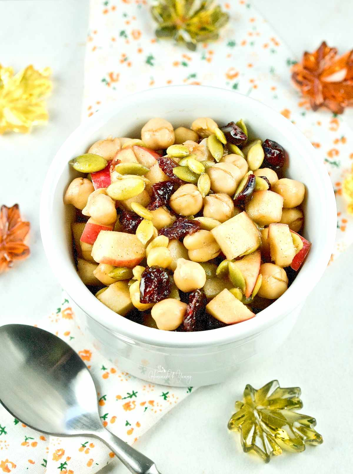 Apple Chickpea Salad in a white bowl ready to eat.