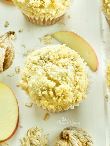 Apple muffins made with figs and oatmeal.