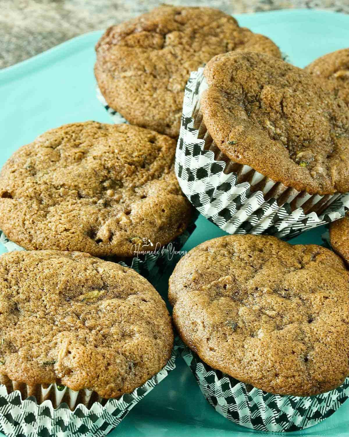 Fresh baked chocolate chip zucchini muffins.