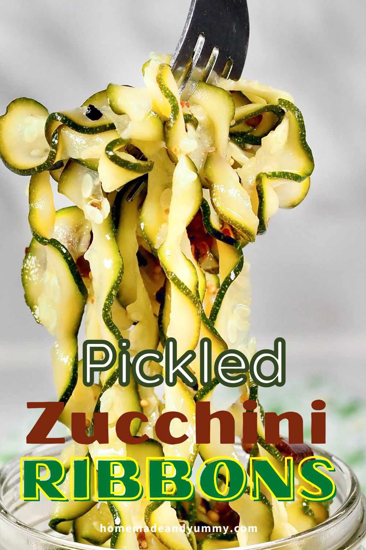 Refrigerator Pickled Zucchini Ribbons a delicious condiment.