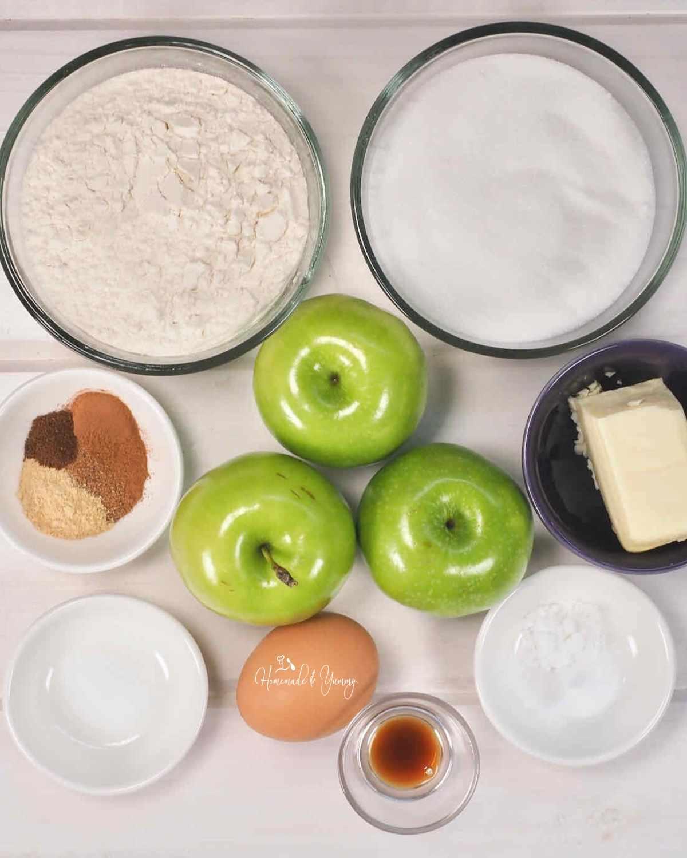 Ingredients to make baked apple dessert.