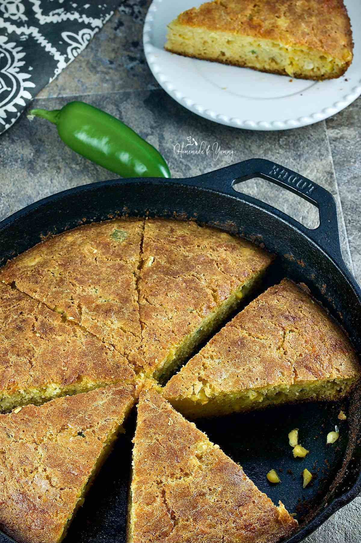 Jalapeno Cornbread made in a cast iron skillet.