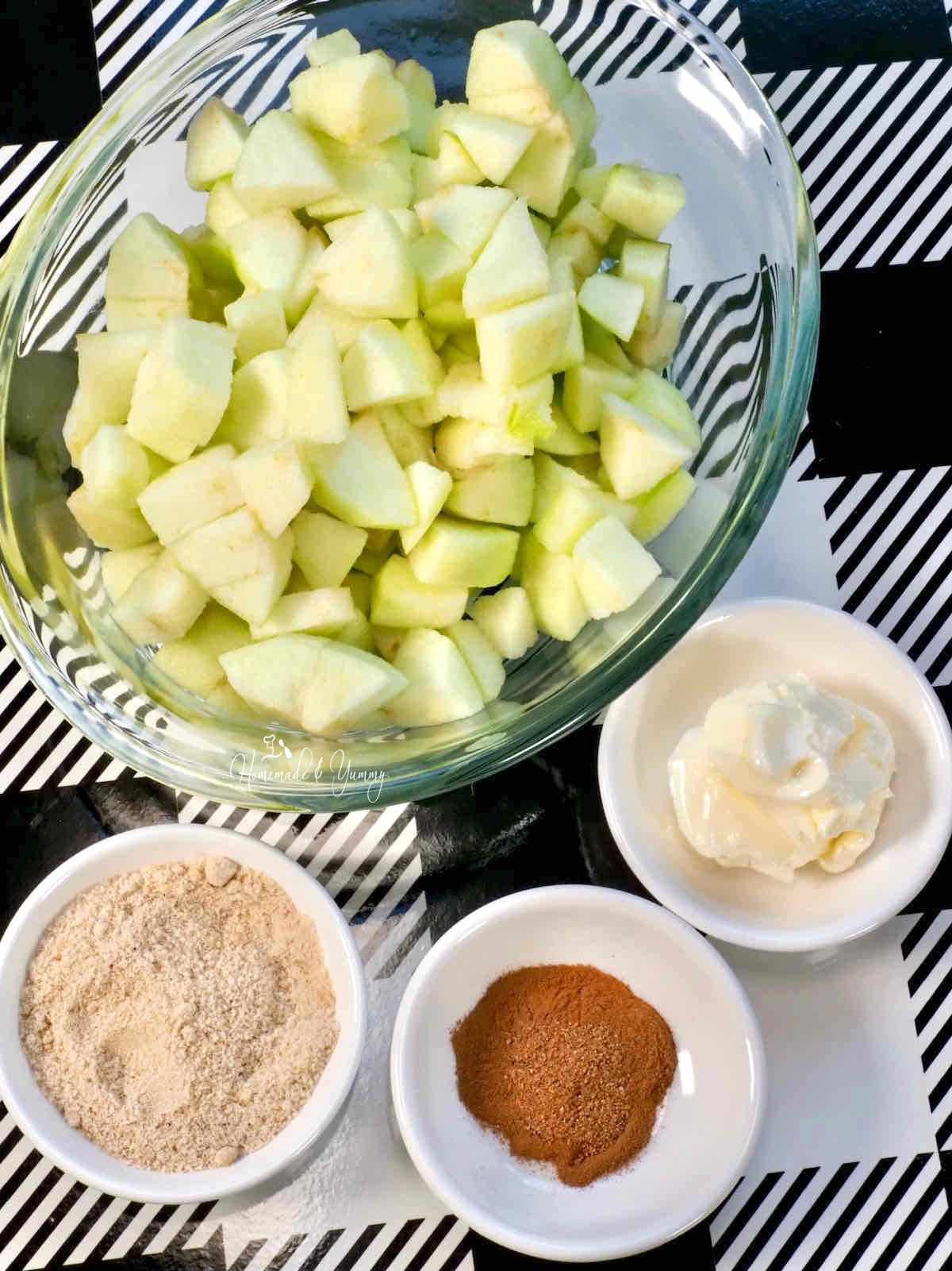 Ingredients for making this apple recipe.