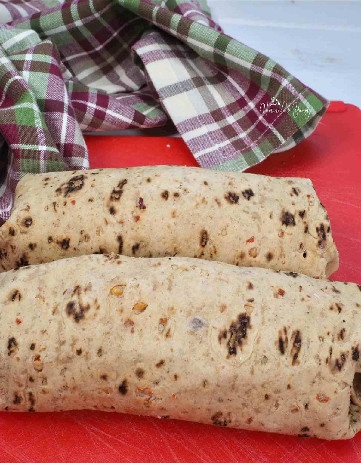 Tortilla wrap finished and ready to cut.