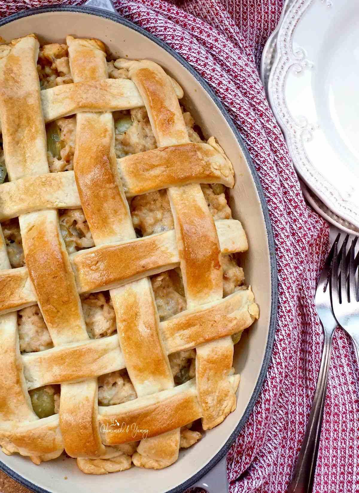 Turkey Meat Pie also know as Turkey Veronique.