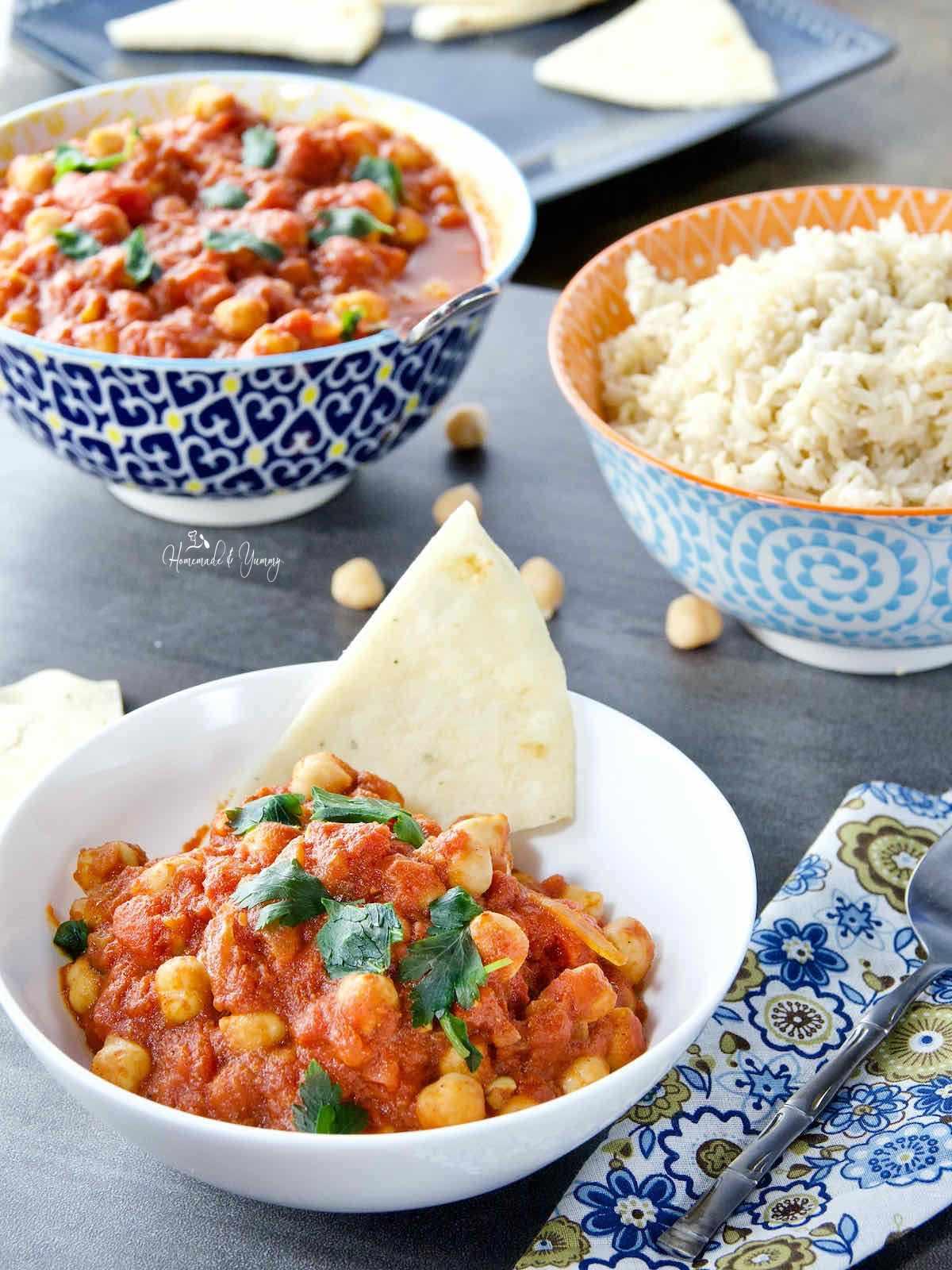 Easy Chana Masala in a white bowl.